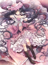 Flower, Square Enix, Ciel Phantomhive, Boots, Crossdressing, Dress, Hat, Laying Down, Pink Dress, Pink Outfit, Rose, Solo, Twin Tails, Yana Toboso, Kuroshitsuji