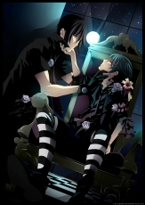 Blue Rose, Flower, Square Enix, Sebastian Michaelis, Ciel Phantomhive, Aristocrat, Blue Flower, Blue Hair, Blue Rose, Bows (Fashion), Chair, Checkered, Duo, Kneeling, Lily, Hand On Chin, Male, Moon, Night, Red Eyes, Rose, Short Hair, Shounen Ai, Sky, Striped, Striped Thigh Highs, Thigh Highs, Tie, Two Males, Window, Yaoi, Kuroshitsuji