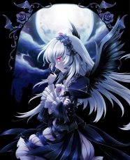 Flower, Wings, Suigintou, Black Wings, Clouds, Dress, Feather, Female, Lolita, Gothic Lolita, Hair Ornament, Headdress, Moon, Night, Red Eyes, Sky, Ribbon, Rose, Side View, Solo, Tears, White hair, Rozen Maiden
