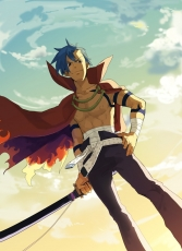 Kamina, Male, Solo, Blue Hair, Katana, Short Hair, Sword, Weapons, Open Shirt, Sky, Tengen Toppa Gurren Lagann
