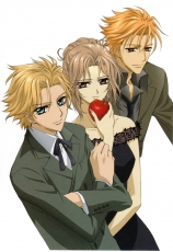 Hanabusa Aidou, Akatsuki Kain, Ruka Souen, Studio Deen, Food, Blonde Hair, Blue Eyes, Brown Eyes, Female, Male, Short Hair, Trio, Vampire, Apple, White Background, Vampire Knight