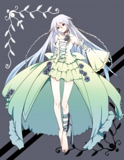 Flower, Will Of The Abyss, Dress, Red Eyes, Rose, White Dress, White hair, White Outfit, Pandora Hearts