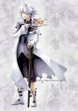Xerxes Break, Male, Solo, White hair, Short Hair, Red Eyes, Albino, Bandages, Cane, Doll, Pandora Hearts