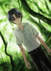 Eriol Hiiragizawa, Smile, Blue Eyes, Forest, Glasses, Male, Nature, Solo, Tree, Short Hair, Cardcaptor Sakura