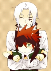 Smile, Closed Eyes, Allen Walker, Lavi, White hair, Red Hair, Short Hair, Male, Two Males, Duo, Child, Eyepatch, Green Eyes, Facial Mark, Tattoo, Little Boy, Katsura Hoshino, D.Gray-man