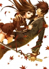 Couple, Red Hair, Katana, Autumn Leaves