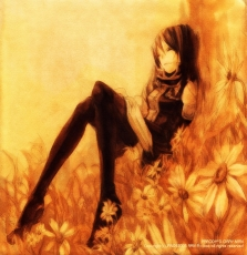 Flower, Closed Eyes, Katsura Hoshino, Lenalee Lee, Book, Sleeping, Female, Solo, Laying Down, Grass, Leaning Against Each Other, Sunflower, Tree, Uniform, D.Gray-man