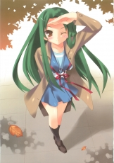 Tsuruya, School Uniform, Green Hair, Brown Eyes, Wink, Blush, Saluting, Uniform, Solo, Female, Autumn, Leaves, The Melancholy of Haruhi Suzumiya