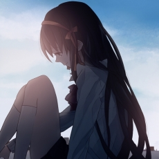 Noizi Ito, Smile, Haruhi Suzumiya, Female, Solo, Sitting, Hair Bow, Crying, Looking Down, Sky, Side View, Noizi Ito, The Melancholy of Haruhi Suzumiya
