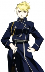 Square Enix, Riza Hawkeye, Blonde Hair, Female, Hand On Hip, Serious, Short Hair, White Background, Fullmetal Alchemist