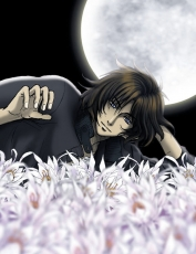 Flower, Kiba, Short Hair, Blue Eyes, Male, Solo, Laying Down, Moon, Night