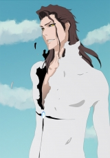 Aizen Sousuke, Male, Short Hair, Gold Eyes, Solo, Open Shirt, Sky, Bleach