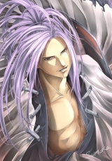 Smile, Amidamaru, Purple Hair, Ponytail, Open Shirt, Samurai, Shaman King