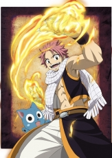 Natsu Dragneel, Animal, Cat, Fire, Male, Solo, Red Hair, Short Hair, Open Mouth, Teeth, Open Shirt, Muscles, Fairy Tail