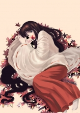 Flower, Inuyasha, Kikyo, Female, Laying Down, Solo, Leaves, Fanart, Inuyasha