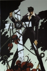 Pistol, Nicholas D. Wolfwood, Male, Solo, Cross, Short Hair, Sunglasses, Gun, Weapons, Chain, Skull, Trigun