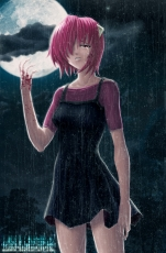 Rain, Rain, Lucy, Blood, Clouds, Moon, Night, Crying, Sad, Red Hair, Short Hair, Red Eyes, Female, Solo, Black Dress, Elfen Lied