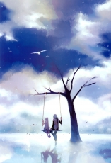 Couple, Tree, Birds, Clouds, Swing, Girl, Boy