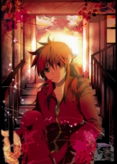 School Uniform, Kurama, Male, Red Hair, Solo, Stairs, Uniform, Fanart, Green Eyes, Sunset, Yu Yu Hakusho