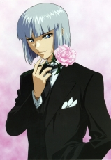 Flower, Smile, Pink Rose, Yzak Joule, Bob Cut, Male, Solo, Blue Eyes, Short Hair, Gray Hair, Suit, Hand In Pocket, Mobile Suit Gundam Seed