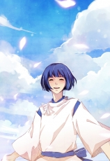 Haku, Smile, Closed Eyes, Male, Clouds, Sky, Short Hair, Spirited Away