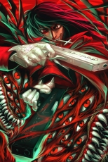 Alucard, Geneon Pioneer, Gloves, Male, Red Eyes, Gun, Weapons, Sharp Teeth, Open Mouth, Hellsing