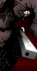 Alucard, Male, Solo, Gun, Weapons, Red Eyes, Grin, Hellsing