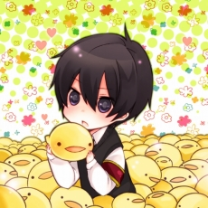 Hibari Kyoya, Hibird, Adorably Cute, Blue Eyes, Short Hair, Chibi, Little Yellow Bird, Spotted Background, Fanart, Katekyo Hitman Reborn!