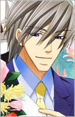 Flower, Junjou Romantica, Smile, Akihiko Usami, Male, Solo, Tie, Suit, Purple Eyes, Gray Hair, Short Hair