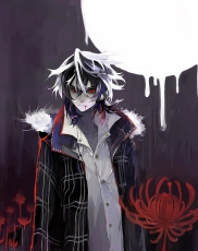 Flower, Shiki, Yuuki Natsuno, Male, Solo, Purple Hair, Red Eyes, Blood, Moon, Night