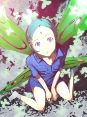 Short Hair, Green Hair, Blue Hair, Looking At The Camera, Butterfly, Butterfly Wings, Socks, Solo, Female, Purple Eyes, W Sitting, Eureka Seven, Eureka, Blue Shirt