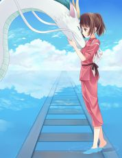 Chihiro Ogino, Haku, Happy, Hitsukuya, Smile, Closed Eyes, Railroad, Creature, Brown Eyes, Water, Shoeless, Touching, Deviantart.com, Spirited Away