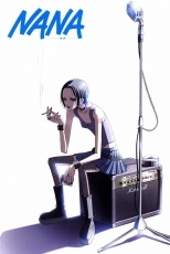 Nana Osaki, Female, Solo, Sitting, Cigarette, Smoking, Earrings, Fishnets, Jewelry, Microphone, Nail Polish, Ring, Skirt, Tattoo, Shadow, Text, Thigh Highs, Official Art, NANA
