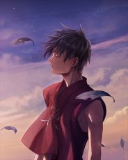 Uga, Closed Eyes, Van Fanel, The Vision of Escaflowne, Feather, Male, Solo, Short Hair, Sky