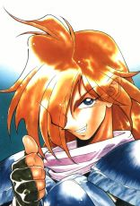 Slayers, Smile, Gourry Gabriev, Male, Solo, Orange Hair, Blue Eyes, Fingerless Gloves, Scarf