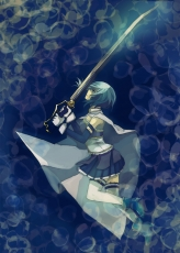 Mahou Shoujo Madoka Magica, Sayaka Miki, Gloves, Pixiv, Fanart, Blue Hair, Blue Outfit, Boots, Cape, Detached Sleeves, Female, Floating, Frown, Weapons, Magical Girl, Pleated Skirt, Shirt, Short Hair, Side View, Skirt, Sleeveless, Sleeveless Shirt, Solo, Sword, Thigh Highs, Underwater, Water, White Gloves, White Legwear