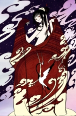 Smile, Yuuko Ichihara, Clouds, Female, Solo, Ecchi, Hair Ornament, Looking Back, Night, Red Eyes, Stars, Looking At Camera, Standing, xxxHOLiC