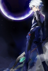 Kaworu Nagisa, Pixiv, Fanart, White hair, Short Hair, Red Eyes, Solo, Albino, Gray Hair, Male, Space, Looking At Camera, Neon Genesis Evangelion