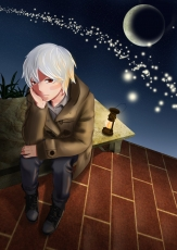 No.6, Sion, Male, Sitting, Short Hair, Hand On Chin, Solo, Night, Sky, Moon, Night Sky, Red Eyes, White hair