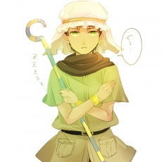 Axis Powers: Hetalia, Egypt, Body Piercing, Bracelet, Earrings, Green Eyes, Hat, Jewelry, Male, Scarf, Short Hair, Simple Background, Solo, Staff, Standing