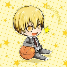 Kise Ryouta, Kuroko No Basket, Smile, School Uniform, Chibi, Basketball, Blonde Hair, Gold Eyes, Male, Open Mouth, Sitting, Solo