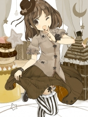 Happy, Nasuna, Smile, Bangs, Black Footwear, Black Legwear, Black Nails, Black Ribbon, Black Thigh Highs, Blush, Bows (Fashion), Bracelet, Bright Eyes, Brown Dress, Brown Eyes, Brown Outfit, Brown Skirt, Building, Buttoned Shirt, Cake, Checkered, Checkered Bow, Checkered Skirt, Chocolate, Cookies, Cream, Curtains, Donut, Dress, Female, Food, Garter Belt, Gray Ribbon, Gray Shirt, Hair Ornament, Hand On Mouth, Hat, Hat Bow, Holding Clothes, Holding Skirt, Ice Cream, Leg Up, Long Skirt, Looking To Side, Medium Hair, Mini Top Hat, Moon (Symbol), Nail Polish, Open Mouth, Pocky, Pudding, Puffy Sleeves, Ribbon, Ropes, Short Sleeves, Simple Background, Skirt, Solo, Star (Symbol), Striped, Striped Legwear, Striped Print, Striped Skirt, Striped Thigh Highs, Sweets, T-shirt, Thigh Highs, Top Hat, V Gesture, Wafer, White Background, White Legwear, White Thigh Highs, Wink, Original, Pixiv