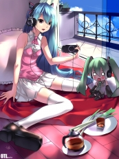 Hachune Miku, Vocaloid, Yykuaixian, Hatsune Miku, Alternate Outfit, Balcony, Bare Shoulders, Blue Hair, Bow Tie, Bows (Fashion), Chibi, Clouds, Coffee, Curtains, Doll, Duo, Female, Food, Game Console, Green Hair, Headphones, Leek, Pink Outfit, Pleated, Pleated Skirt, PSP, Room, Sitting, Skirt, Sky, Solo, stuffed toy, Tea, Thigh Highs, Toy, Twin Tails, Two Girls, Video Games, White Legwear, White Thigh Highs, Zettai Ryouiki, Fanart, Pixiv
