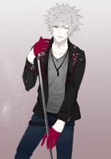 Gloves, Visual Novel, Ranmaru Kurosaki, Cross, Cross Necklace, Gray Hair, Heterochromia, Jewelry, Male, Microphone, Microphone Stand, Necklace, Short Hair, Solo, Tongue