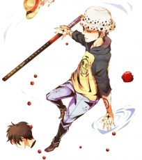 Pixiv Id 1388683, The Eleven Supernovas Character Group, Straw Hat Pirates Character Group, Pixiv, Fanart From Pixiv, Fanart, White Background, Weapons, Tattoo, Sword, Straw Hat, Standing, Simple Background, Side View, Short Hair, Pants, Male, Katana, Jewelry, Jeans, Hood, Head, Hat, Hands, Goatee, Full Body, Food, Earrings, Brown Footwear, Boots, Body Piercing, Black Hair, Apple, Animal Print, Trafalgar Law, Monkey D. Luffy, One Piece