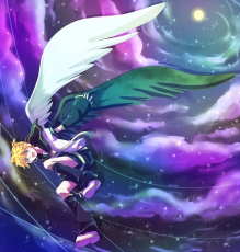 Emirio, Kagamine Len, Vocaloid, Wings, Blue Eyes, Clouds, Detached Sleeves, Male, Moon, Shorts, Sky, Solo, Fanart, Pixiv, Blonde Hair