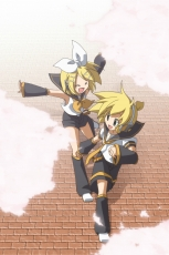 Happy, Kagamine Len, Kagamine Rin, Vocaloid, Kagamine Twins, Twins, Siblings, Shorts, Male, Duo, Female, Detached Sleeves, Blonde Hair