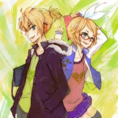 Kagamine Len, Kagamine Rin, Vocaloid, Kagamine Twins, Twins, Male, Glasses, Female, Duo, Blonde Hair, Alternate Outfit, Siblings