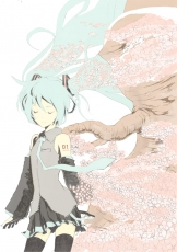 Vocaloid, Hatsune Miku, Blue Hair, Cherry Tree, Detached Sleeves, Closed Eyes, Female, Long Hair, Solo, Twin Tails