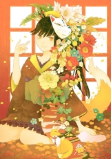 Conronca, Flower, Animal, Barefoot, Female, Fox, Fox Mask, Gold Eyes, Hands, Japanese Clothes, Kimono, Mask, Noh Mask, Tail, Traditional Clothes, Original, Pixiv